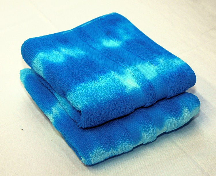 Set of 2 Tie-Dye Hand Towels - Blue Stripe 100% Cotton -  Hand Dyed - Nice Hotel Quality