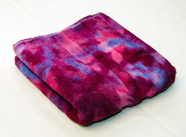 Tie-Dye Hand Towel - Raspberry Fuchsia Marble 100% Cotton -  Hand Dyed - Nice Hotel Quality