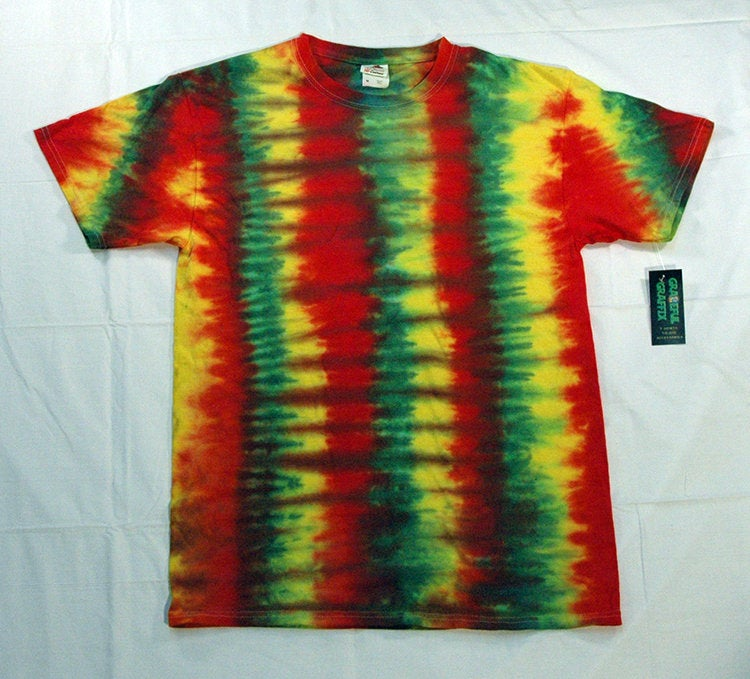 New Unisex Adult  Rasta Reggae Tie-Dye T-Shirt 100% Cotton - Red Green Yellow Stripe