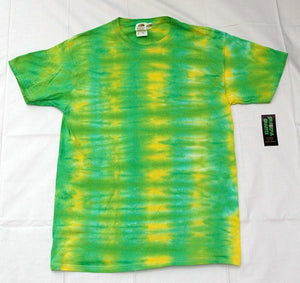 New Unisex Adult Tie-Dye T-Shirt 100% Cotton - Green Yellow Stripes