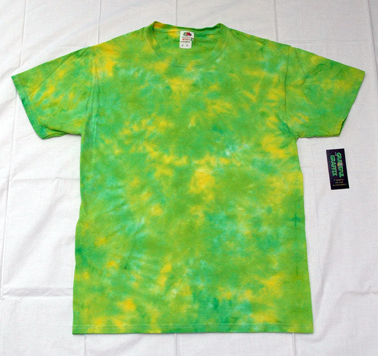 New Unisex Adult Tie-Dye T-Shirt 100% Cotton - Green Yellow Marble