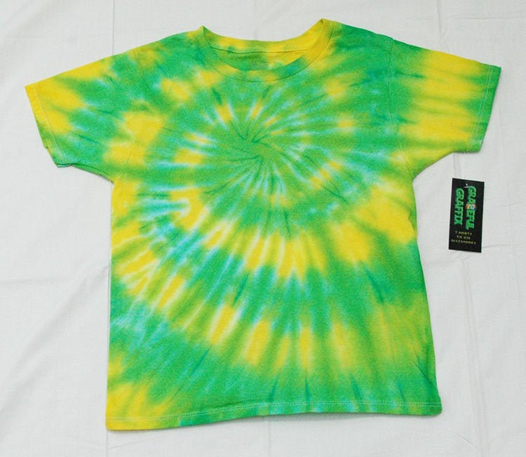 Adult Tie-Dye T-Shirt 100% Cotton - Green Yellow Spiral