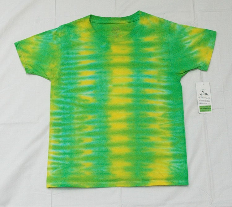 New Youth Tie-Dye T-Shirt - 100% Cotton Green Yellow Stripe Oregon Ducks