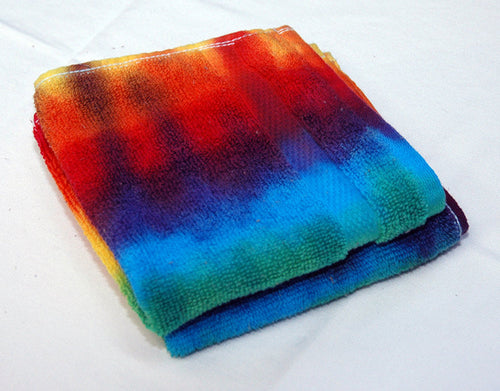 Set of 2 Large Tie-Dye Wash Cloths - Rainbow Stripe 100% Cotton -  Hand Dyed - Nice Hotel Quality