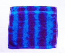 Load image into Gallery viewer, Set of 2 Large Tie-Dye Wash Cloths - Purple Blue Stripe 100% Cotton -  Hand Dyed - Nice Hotel Quality