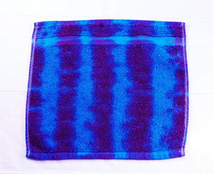 Set of 2 Large Tie-Dye Wash Cloths - Purple Blue Stripe 100% Cotton -  Hand Dyed - Nice Hotel Quality