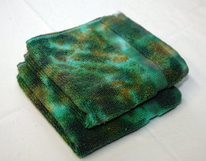 Set of 2 Large Tie-Dye Wash Cloths - Camo Camouflage Marble 100% Cotton - Hand Dyed - Hotel Quality