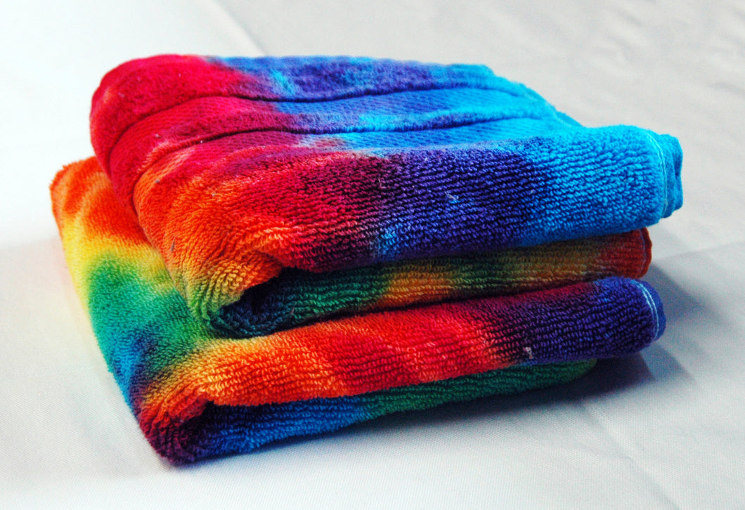 Set of 2 Tie-Dye Hand Towels - Rainbow Spiral 100% Cotton -  Hand Dyed - Nice Hotel Quality