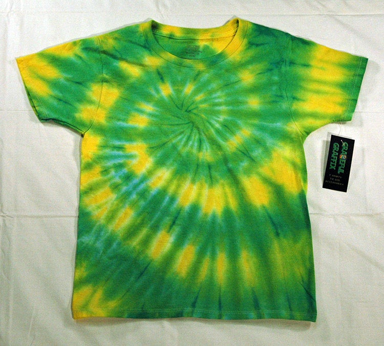New Youth Tie-Dye T-Shirt - 100% Cotton Green Yellow Spiral Oregon Ducks