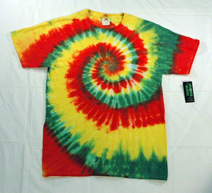 New Unisex Adult  Rasta Reggae Tie-Dye T-Shirt 100% Cotton - Red Green Yellow Spiral