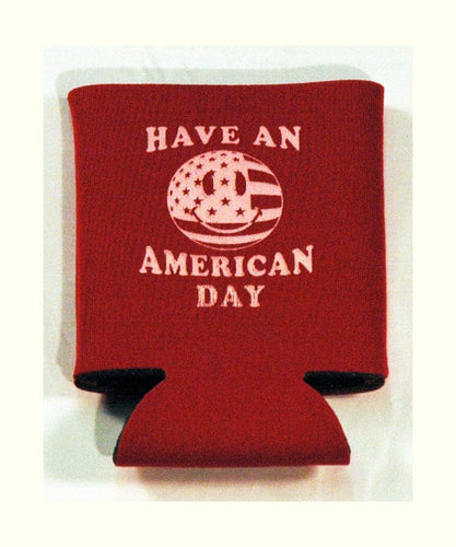 Printed Can Cozie Cooler Insulator - Have An American Day Smiley Face