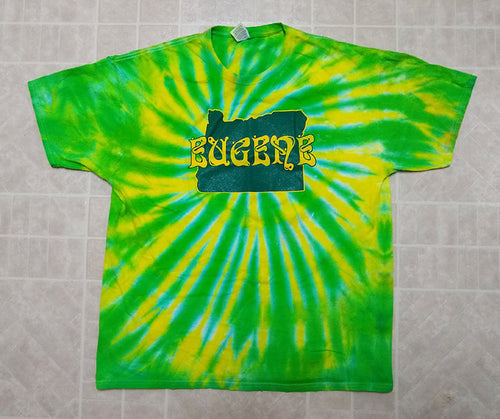Adult Eugene Oregon Tie-Dye Printed T-Shirt - Green and Yellow State and Name - 100% Cotton