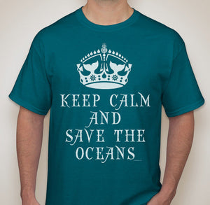 Adult Unisex Keep Calm and Save The Oceans Printed T-shirt 100% Cotton