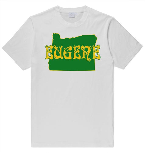 Adult Eugene Oregon Printed T-Shirt - Green and Yellow State and Name - 100% Cotton
