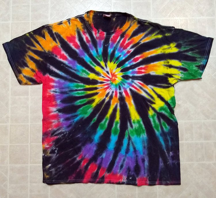 New Unisex Adult Tie-Dye T-Shirt 100% Cotton - Black Rainbow Spiral