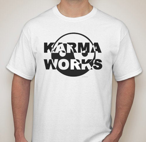 Adult Unisex Karma Works Yin Yang Printed T-shirt 100% Cotton