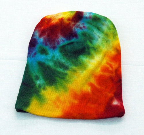 Baby Tie-Dye Infant Beanie Cap - Hand Dyed Soft Cotton Hat - Rainbow Spiral
