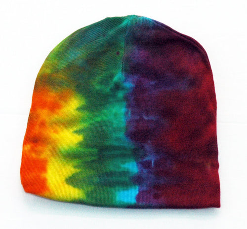 Baby Tie-Dye Infant Beanie Cap - Hand Dyed Soft Cotton Hat - Rainbow Stripe