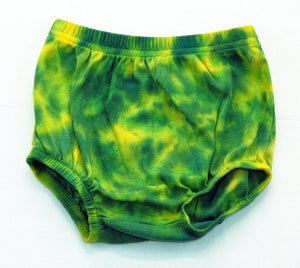 Baby Tie-Dye Infant Diaper Cover Pants - Hand Dyed Soft Cotton Bloomers - Green Yellow Oregon Ducks