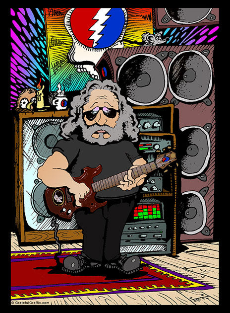 Cartoon Likeness of Jerry Garcia of The Grateful Dead Graphic Printed T-Shirt