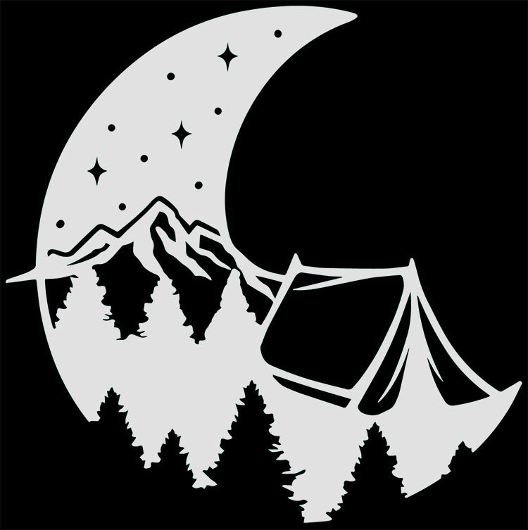 Moon Mountains Tent Camping Vinyl Decal Sticker for Cars, Windows, Signs, Etc.
