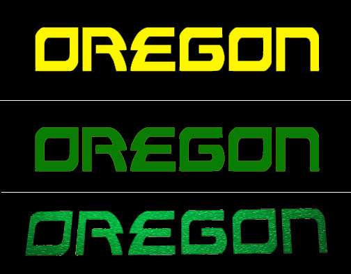 Oregon Decal - Oregon Name Sticker for Cars, Windows, Signs, Etc. in Yellow or Green. Free Shipping