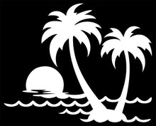 Load image into Gallery viewer, Tropical Island Palm Trees Vinyl Decal Sticker for Cars, Windows, Signs, Etc.