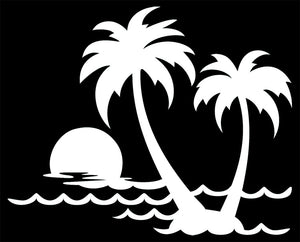 Tropical Island Palm Trees Vinyl Decal Sticker for Cars, Windows, Signs, Etc.