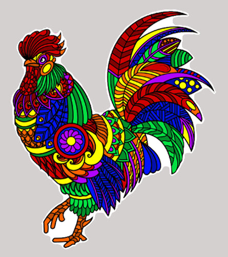 Trippy Crazy Colorful Rooster Chicken Vinyl Sticker Decal - FREE Shipping