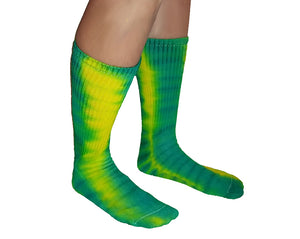 Tie-Dye Cotton Socks - Green & Yellow Oregon Ducks Colors - Crew Length - Fits Sizes 6-12