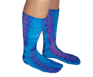 Tie-Dye Cotton Socks - Purple and Turquoise Colors - Crew Length - Fits Sizes 6-12