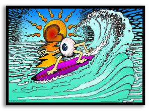 Psychedelic Surfing Eyeball Cartoon Vinyl Sticker Decal - Grateful Dead