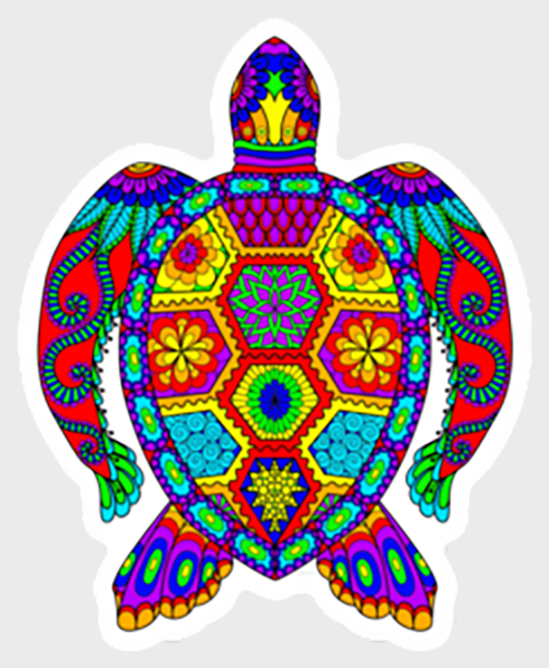 Trippy Crazy Colorful Sea Turtle Vinyl Sticker Decal - FREE Shipping