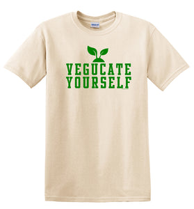Vegucate Yourself Unisex T-shirt - Vegan Vegetarian Plant Based Education