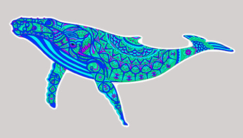 Trippy Crazy Colorful Gray Whale Vinyl Sticker Decal - FREE Shipping