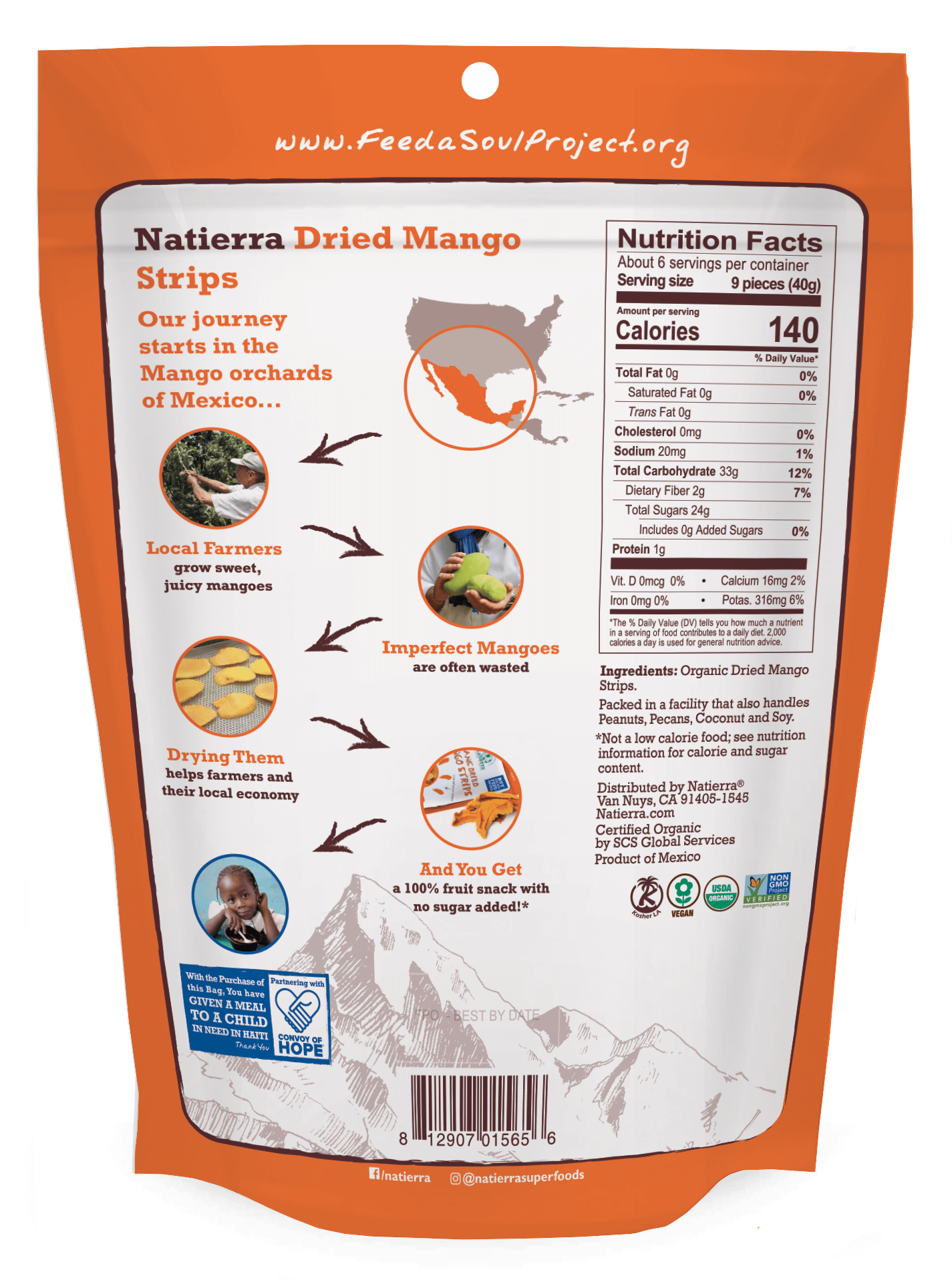 Natierra Organic Dried Mango Strips NATMNGSTP8 812907015656