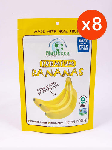 Natierra Premium Freeze-Dried Bananas (Pack of 8)
