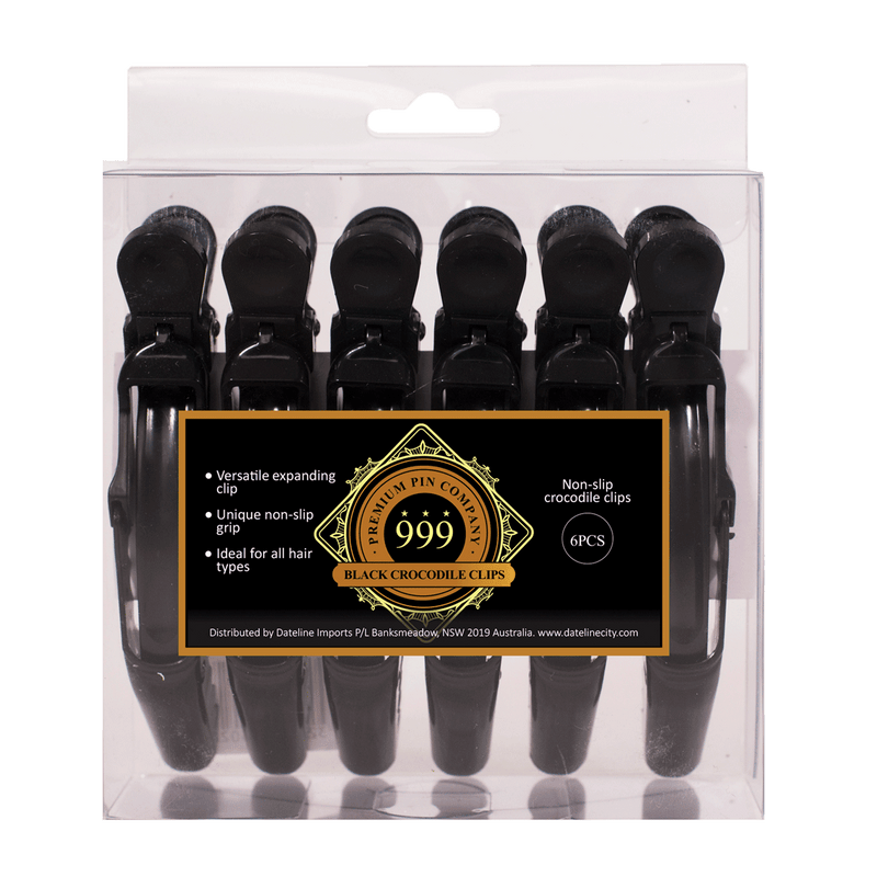 999 Premium Pin Company | 6pc Non-Slip Crocodile Clips Black