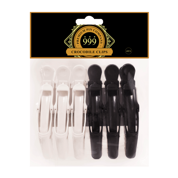 999 Premium Pin Company | 6pc Non-Slip Crocodile Clips Black & White