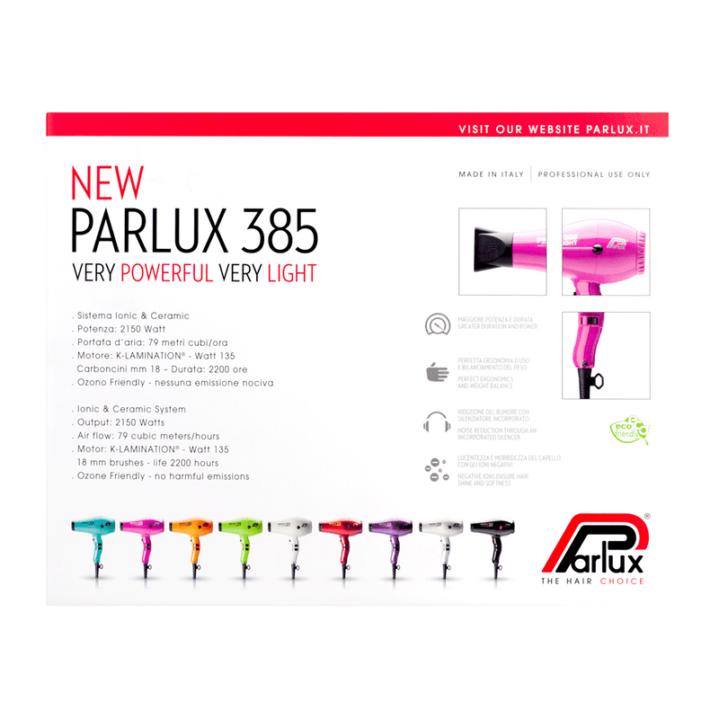 Parlux 385 Powerlight Ceramic and Ionic Hair Dryer | Fuchsia