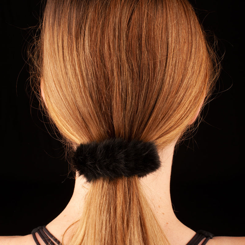 Faux Fur Scrunchie | Black