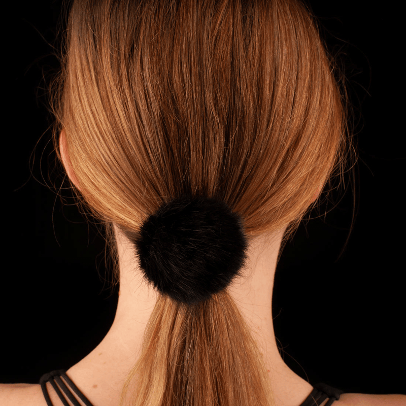 Faux Fur Pom Pom Hair Elastic | Black
