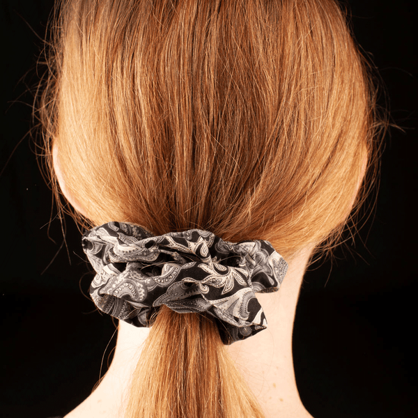 Scrunchies  | Made In Australia | Grey Paisley