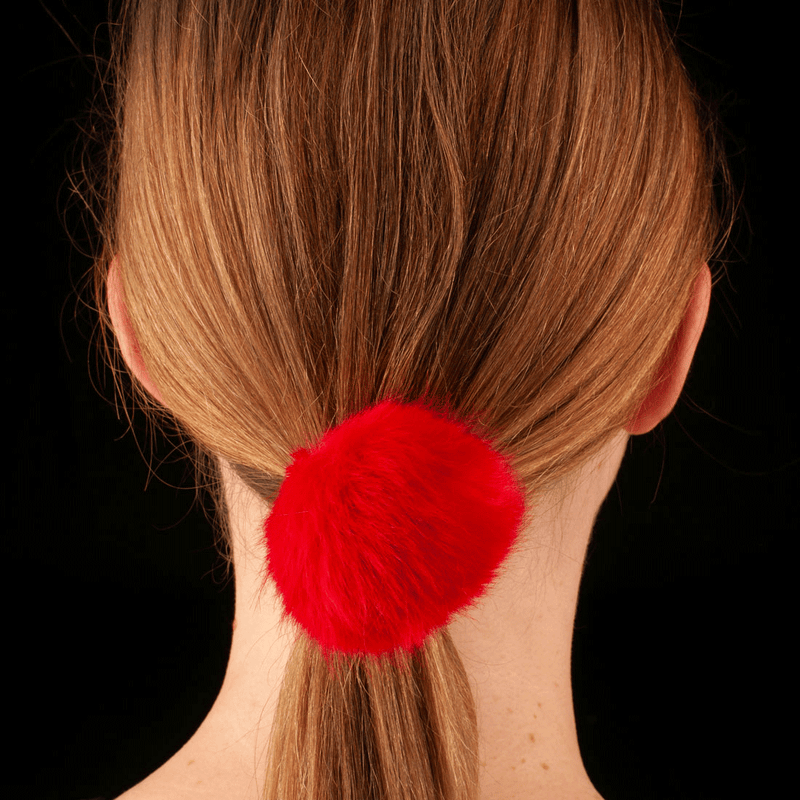 Faux Fur Pom Pom Hair Elastic | Red