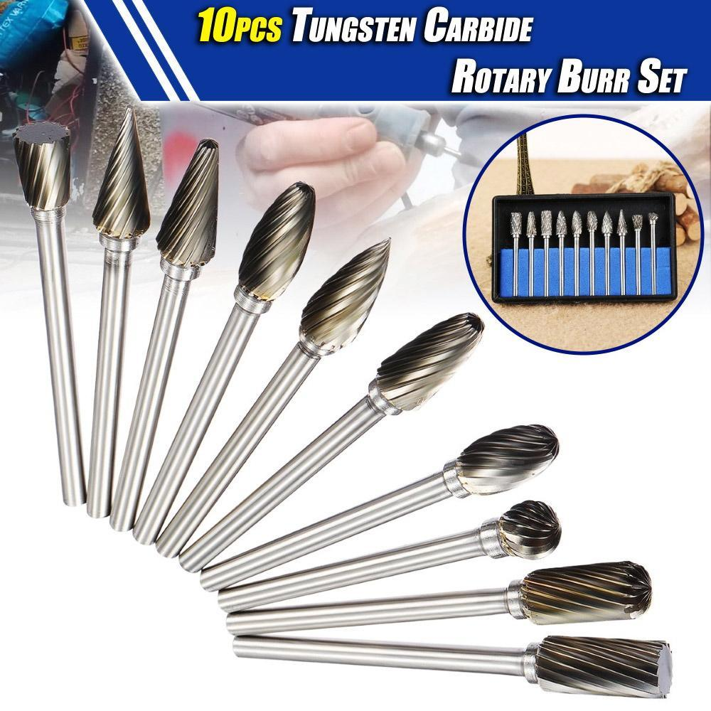 10pcs Tungsten Carbide Rotary Burr Set
