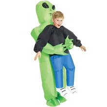 Load image into Gallery viewer, Green Alien Carrying Human Costume
