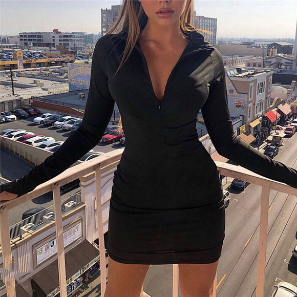 Zip Front Bodycon Dress