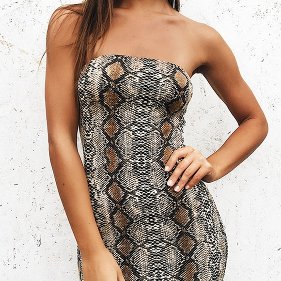 Python Strapless Bodycon Dress