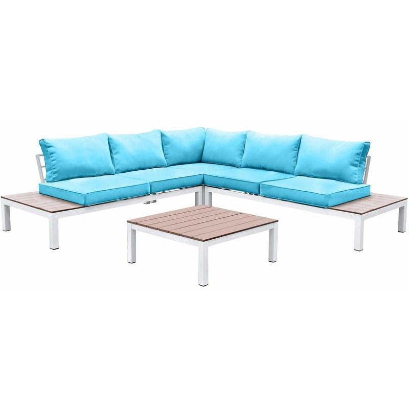 L-Shaped White Oak Patio Sectional w/ Table