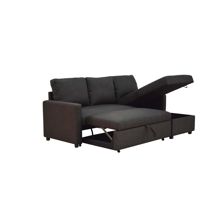 Hiltons Charcoal Linen Sectional Sofa w/ Sleeper